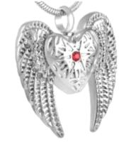 178: Silver winged heart w/ red stone