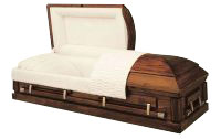 Solid Oak Rental Casket with Insert