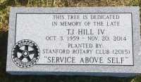 Dedication Marker for T.J. Hill IV (Stanford Rotary Club)