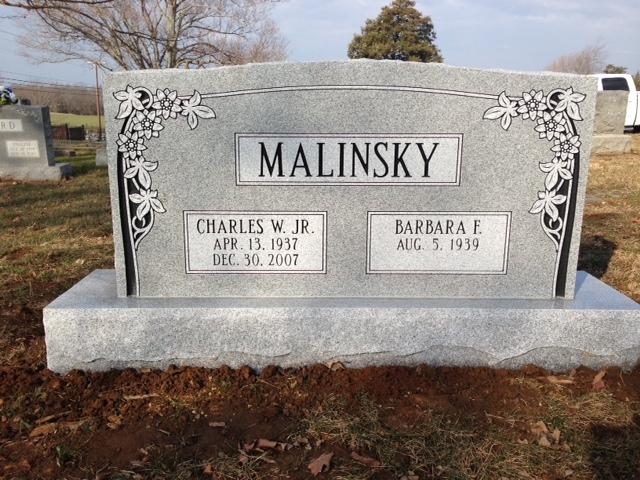 Monument of Charles W. Malinsky, Jr. & Barbara F. Malinsky