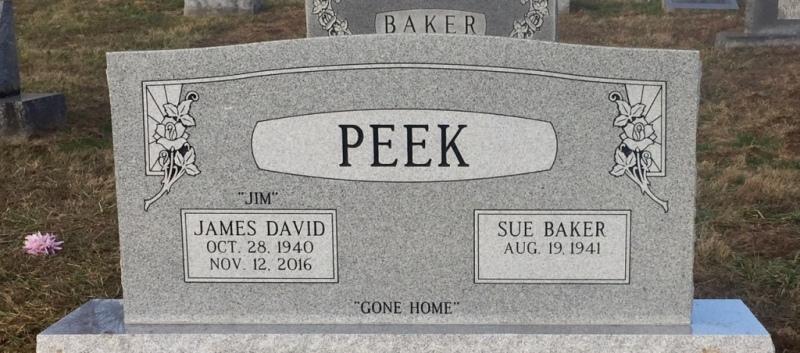 The Monument of James David Jim & Sue Baker Peek