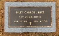 The VA Marker for Billy Carroll Rice