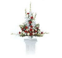 Traditional Funeral Basket- RED AND WHITE