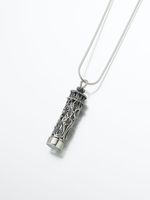 Sterling Silver Antique Cylinder Pendant w/ Glass Insert